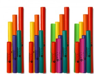Boomwhacker set, A, B, C, D